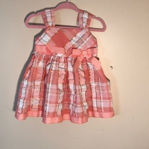 6-9 month Dress peach & gold sparkles & Bloomers